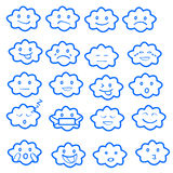 O grupo liso engraçado abstrato do ícone do emoticon do emoji do estilo, nubla-se o azul Fotos de Stock