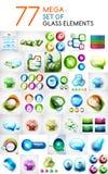 O grupo mega das formas abstratas de vidro projeta elementos Imagem de Stock