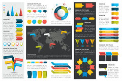O grupo mega de cartas de elementos do infographics, gráficos, cartas do círculo, diagramas, discurso borbulha Plano e projeto 3D Foto de Stock