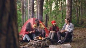 O grupo multirracial de amigos dos jovens está tendo o divertimento em torno da fogueira que falam, gesticulando e rindo aprecian vídeos de arquivo