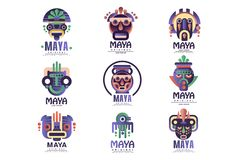 O grupo original do projeto do logotipo do Maya, emblemas com m?scara ?tnica, asteca assina ilustra??es do vetor em um fundo bran ilustração royalty free