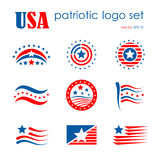 O grupo patriótico do ícone do logotipo do emblema dos EUA, bandeira assina Foto de Stock