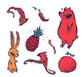 O grupo pequeno de mão ilustrou animais e plantas ilustração stock