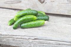 O grupo pequeno de pepinos naturais frescos Fotos de Stock