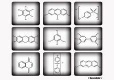 O grupo químico do ícone, ilustração do vetor, ícone químico ajustou-se no fundo branco e preto Fotografia de Stock