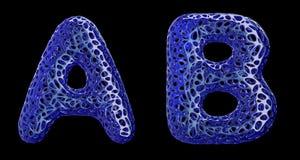 O grupo real?stico A das letras 3D, B fez do pl?stico azul ilustração do vetor