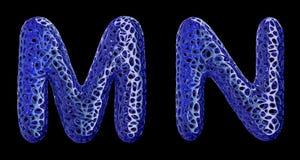 O grupo real?stico M das letras 3D, N fez do pl?stico azul ilustração stock
