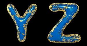 O grupo real?stico Y das letras 3D, Z fez de letras de brilho do metal do ouro ilustração do vetor