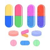 O grupo, a tabuleta e os comprimidos médicos vector a ilustração Fotos de Stock