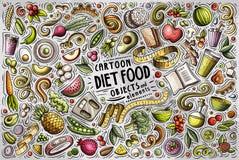 O grupo tirado dos desenhos animados da garatuja do vetor mão colorida de tema do alimento da dieta objeta ilustração royalty free