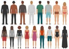 O grupo traseiro dos povos da vista, homem, caráteres eretos da mulher, negócio isolou a pessoa ilustração royalty free