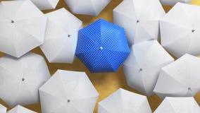 O guarda-chuva azul vadeia com um fluxo dos guarda-chuvas brancos, estando para fora do conceito da multidão 3d anima??o bonita,  vídeos de arquivo