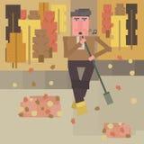 O guarda de serviço limpa a jarda do outono com o bom humor e canta-a dentro à vassoura Ilustração lisa quadrada do estilo fotos de stock royalty free