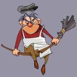 O guarda de serviço masculino mau dos desenhos animados quebra a vassoura em seu joelho Fotos de Stock