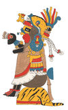 O guerreiro de Mixtec no vestido do ouro e o leopardo descascam a mantilha Assentado na plataforma da pele do tigre, guardando o  Foto de Stock Royalty Free
