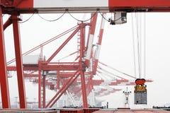 O guindaste de pórtico carrega o navio de recipiente Imagem de Stock Royalty Free