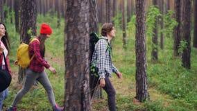 O guitarrista bonito da menina está caminhando com amigos e o saco levando da atuação da guitarra que anda na floresta com grupo  filme
