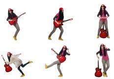 O guitarrista da mulher isolado no branco Fotos de Stock Royalty Free