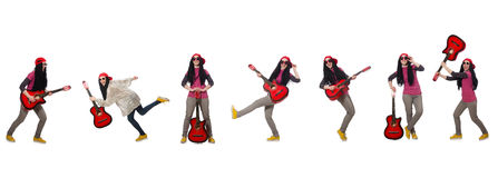 O guitarrista do hipste isolado no branco Fotos de Stock
