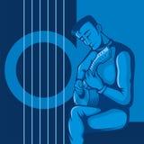 O guitarrista no azul ilustração stock