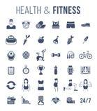 O gym da aptidão e as silhuetas lisas do estilo de vida saudável vector ícones ilustração stock