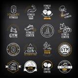 O Gym e o logotipo do clube de aptidão projetam, ostentam o crachá Vetor com graphi Foto de Stock