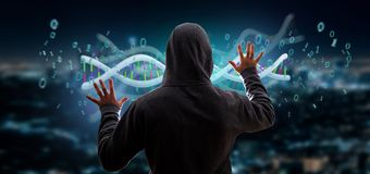 O hacker que ativa uns dados da rendição 3d codificou o ADN com o arquivo binário Foto de Stock