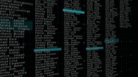 O hacker quebra no computador e no roubo dos dados Feche acima do tiro de um monitor do computador do hacker Cena dinâmica do cor ilustração stock
