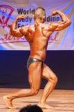 O halterofilista masculino dobra seus músculos para mostrar seu físico Imagem de Stock