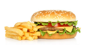 O Hamburger e a batata livram Fotos de Stock Royalty Free