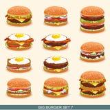 O hamburguer ajustou 7 ilustração do vetor