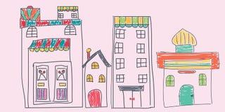 O handrawn da cidade para a tampa ou as crianças cardam a capa Imagens de Stock Royalty Free