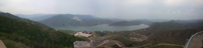O'hara ooze reservoir panoramic view!. On the beautiful daqingshan in lnner Mongolia,There is a little-known mountain grassland.Very suitable for your mind,enjoy stock photo