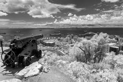 O ` hara` s Batterij, Gibraltar in Infrared Stock Afbeelding