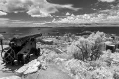 O`hara`s Battery, Gibraltar in Infrared Stock Image