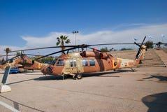 O helicóptero Sikorsky S-70A-9 Yanshuf 3 indicou no museu israelita da força aérea imagem de stock