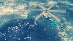 O helicóptero voa sobre ondas de oceano ilustração do vetor