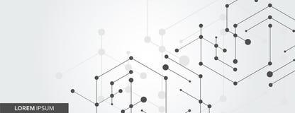 O hexágono geométrico conecta com a linha e os pontos conectados Fundo simples do gráfico da tecnologia projeto da bandeira do ve fotos de stock royalty free