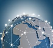 O holograma da rede do globo com América EUA traça a rendição 3D ilustração royalty free