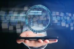 O holograma feito da roda com uns dados futuristas da finança conecta Fotografia de Stock
