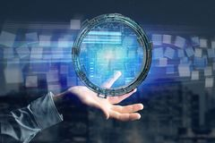 O holograma feito da roda com uns dados futuristas da finança conecta Foto de Stock