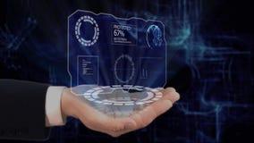 O holograma pintado HUD do conceito das mostras da mão protege sua mão video estoque