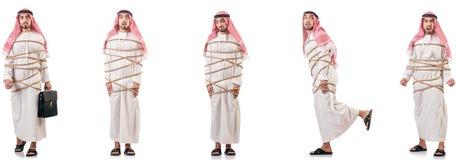 O homem árabe amarrado acima com corda fotos de stock