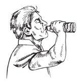 O homem é água potável da garrafa, garatuja tirada mão ilustração do vetor