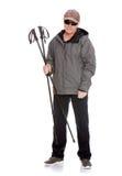 O homem é contratado no passeio nórdico Fotografia de Stock Royalty Free