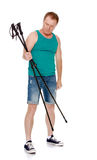 O homem é contratado no passeio nórdico Foto de Stock Royalty Free
