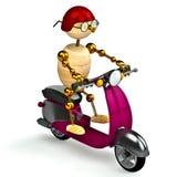 o homem 3d de madeira está montando no moped Imagem de Stock