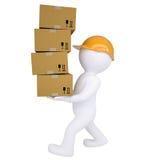 o homem 3d leva caixas Foto de Stock Royalty Free