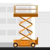 O homem aéreo scissor o guindaste do elevador ilustração stock