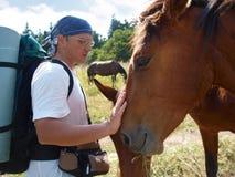 O homem afaga um cavalo Foto de Stock Royalty Free
